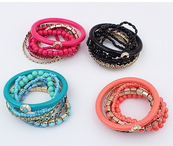 Factory Price  New Arrival Fashion Jewelry/European folk style series multilayer hot Beaded Bracelet/2 style Have 4 color