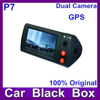 3.0inch Touch screen Car DVR dual camera recording GPS Logger carcam with GPS Antenna 3D G-sensor Car blackbox dvr P7