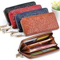 MeGa Hot Selling Genuine Leather Wallet Flower Pattern  Women's  Wallets  Clutch Purse Bag  Handbag JL007