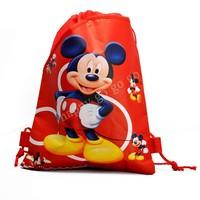 Hot,12Pcs/lot  Mickey Hot Cartoon Logo Children Drawstring Backpacks Kids School bags 34X27CM Non-woven Fabric,2014 Party Favors