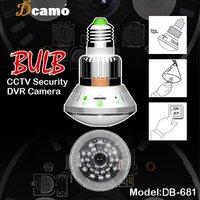 "1/4"" CMOS Megapixel Bulb CCTV Security DVR Camera with 24pcs IR LEDs Support SD Card Circular Storage Free Shipping"