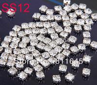 1440pcs/set ss12(3mm) Silver Loose Crystal Sew On Rhinestone Beads Free shipping