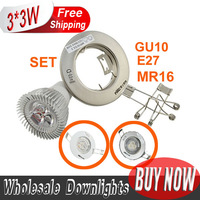 10set/lot 3W 330lm LED DOWNLIGHT  Set Frame FITTING HOLDER CREE Free by EXPRESS GU10  E27  AC85-265V MR16 DC12V