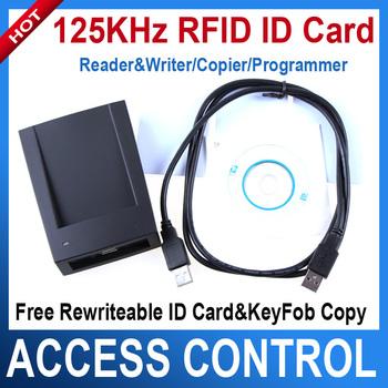ID Card 125KHz RFID Reader & Writer/Copier/Programmer + FREE Rewritable ID Card & KeyFob COPY ISO EM4100 EM4102 Proximity