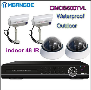 H.264 4CH Surveillance DVR 4pcs cmos600tvl Waterproof Camera CCTV Security System via DHL Free Shipping