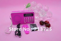 FM SD/TF/MMC AUX Portable Radio/ Digital Audio Player MP3 Player LED Screen Speaker Using Rechargeable Battery wholesale