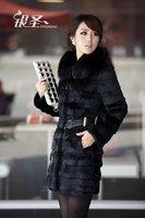 Winter Ladies' Genuine Real Rabbit Fur Coat Jacket with Fox Fur Collar Cotton Inside Women Fur Outerwear Coats Plus Size VK0401
