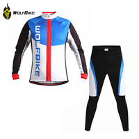 WOLFBIKE Spring Mountain Bike Sportswear Bicycle MTB Breathable Clothing Set Long Sleeve Cycling Pants Tights coat Suit Men