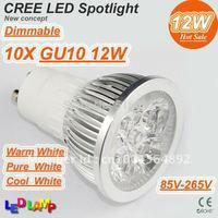 10pcs CREE LED Lamp GU10 AC85-265V 4*3W 12W LED Bulb Light Spotlight LED Downlight replace 65W Hight Quality