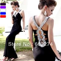 V-neck Trailing black banquet Long design Diamond evening dress Free Shipping