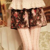 Sale Free Shipping Nikyberry New Fashion 2014 Women Shorts Floral Print Tassel Hot Pants Stretch High Waist S M Plus Size L41006
