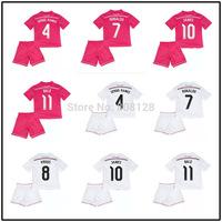 11 BALE 10 JAMES 8 KROOS 7 RONALDO 4 SERGIO RAMOS Kids Real Madrid Home Away 14 15 Junior soccer jersey Youth football shirt