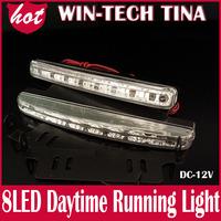 NEW Car Light high quality 2pcs/lot 8 Led Daytime Running Lights White waterproof Led DRL Car Fog Lights lamp