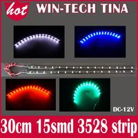 New Car Light brand new 10pcs/lot 15 SMD 3528 LED Strips light waterproof 30cm length car strip White/Red/Green/Blue Color