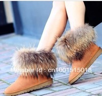 New fashion Women's Winter snow Boots,cow split,big fox fur round toe flat boots Round Toe Waterproof Flat Shoes 4 Colors