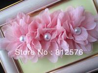 """Baby headband Pastoral Style Baby Headband Three 3.2"""" Combination Fold Chiffon 3 Pearls Flower 20pcs/lot Headbands"""