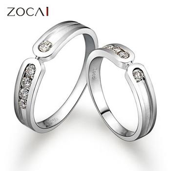 ПАРА ZOCAI 0,35 CT CERTIFIED H / SI DIAMOND его и ее Обручальные кольца Комплекты для любителей круглая огранка белого золота 18 карат