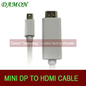 100pcs/lot mini displayport mini dp to hdmi cable thunderbolt 2M Full HD  free shipping