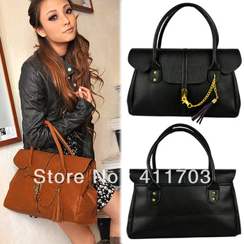 handbags bags women tote PU leather product Satchel lady hand bag With Fringe tassel Black, Brown 9042