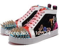patchwork men's shoes with nails 2013 hot fashion