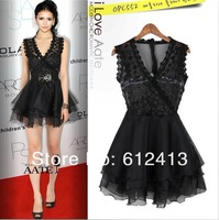 European women's dress lace dress evening, brand  slime dress black and aprico A-039