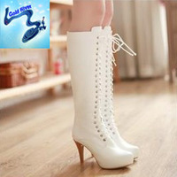 100% genuine leather boots women designer 2013 autumn and winter large size women's shoes cowhide riding boots  white boots