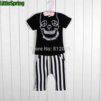 LittleSpring XLS Retail In stock! new Summer Clothing Sets Boy cartoon prints set children striped pants suit christmas