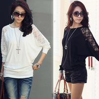 2012 Fashion Autumn Women's Long Sleeve Crew Neck Batwing Dolman Lace Casual Loose Tops T-Shirt Size S M L Free Shipping 0662