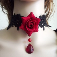 gothic jewelry vintage rose necklace red black color flower women fashion necklaces crystal fairy head choker necklace 2013 new