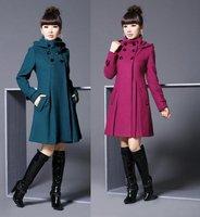 [4 Colors/M-XXL] 2014 Winter Top Grade Women's Woolen Coat Casual Double-breasted Long Wool Jackets  FWO10097