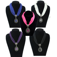 2014 Fashion Spring Fabric Choker Water Drop Pendant Scarf Necklace Short Collar Jewelry necklaces, mixed colors,6 pcs/lot