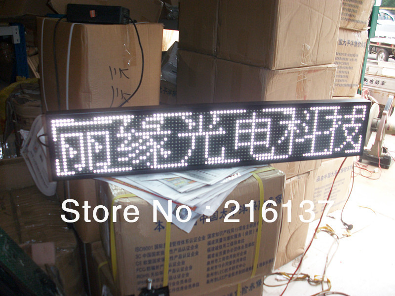 Free Shipping P10 White Color LED Display Board with 16*96 Pixels & USB Port 1/4 Scan for Car / Taxi / Bus(China (Mainland))