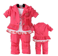 New 2013 Kids Clothes Set For Baby Girl 3Pcs Coat Long Sleeve T shirt Pants Autumn-Summer Children Clothing Sets Girls Fashion