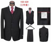 2013New Fashion Mens Wedding Suit Slim Fit Business Suit Set S-4XL Dress Suits,Two Button Black/Grey Tuxedo for Men
