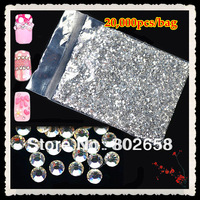 (20,000pcs/Lot) 2.0mm Glitter Clear  Acrylic Hot Fix Nail Art  Rhinestone For Nail Decoration