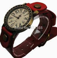 2 color watches genuine Cow leather bronze watch women ladies quartz watch vintage dress wristwatch Relogio Relojes