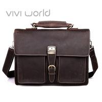 Free shipping, Vintage handmade genuine crazy horse leather briefcase/ business shoulder bag/ laptop bag/ messenger bags for men
