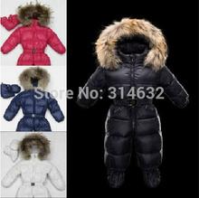 2014Fashion baby jumpsuit 100%duck down Romper Gloves+feet set,infant Raccoon fur collar Siamese children climbing clothesXS-XXL(China (Mainland))