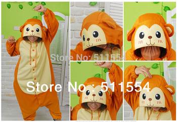 Free Shipping Winter Yellow Flannel Fleece Monkey Animal Pajamas Fleece Sleepwear Women Japanese Anime Cosplay Costume Kigurum