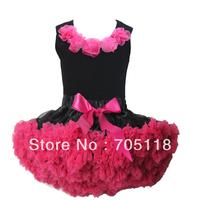 pink flower top + skirt set,baby Dress, pettiskirt, tutu Dress, Girls Tutu Skirt/FREE SHIPPING