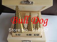 Free Shipping 3pcs/set HSS Step Drill Bit Set 4241 Steel Titanium Coated Step Drill Bit Set --Metric Size 4-32mm, 4-20mm, 4-12mm