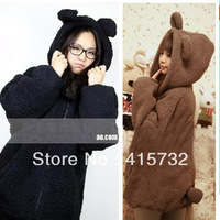 Free Shipping 2014 New Faux Fur Coat Rabbit Outerwear With Bear Ears Cute Plus Size Loose Winter Sweatshirt Hooded Brown Hoodies
