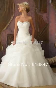 Лучший запас Новый стиль слоновая кость / белый длинный органзы бисером рукавов бальное платье свадебное платье свадебные платья SZ : 6-16 бесплатная доставка