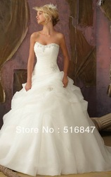 2013 Stock New Style Ivory/white Long Organza Beaded Sleeveless Ball Gown Bridal Gown Wedding Dresses SZ :6-16 Free Shipping(China (Mainland))