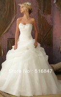 2013 Stock New Style Ivory/white Long Organza Beaded Sleeveless Ball Gown Bridal Gown Wedding Dresses SZ :6-16 Free Shipping