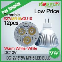 Free Shipping12pcs/lot led 12V The LED Light DC12V MR16 3*3W Warm White/Cold white LED Light LED Lamp koston Manufacturers