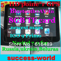 5 Inch HD800*480 Poine*r GPS Navigator+Original Russian box+Bluetooth+AV-IN+8GB TF Card Free new IGO 9 Primo/Navitel 7.0