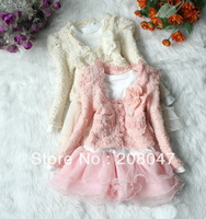 girls Autumn Winter wear clothes faux Fur  lace dress set Children outerwear Coat warm Clothing Kids suit Sweet flower Jackets