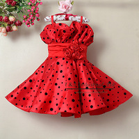 2013 New Arrival Kids Girl Party Dresses Red With Flower Belt Princess Dress For Children Clothing 6PCS / LOT Ready Stock