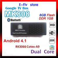 Wholesale 10pcs/lots MK808B Mini PC Android TV box 4.1 Dual-Core 1.6 GHz RAM 1GB ROM 8GB HDMI 1080P